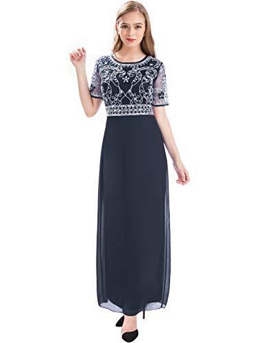 Urban CoCo Women Long Sleeve V-Neck Velvet Stretchy Long Dress (X-Large, Black)