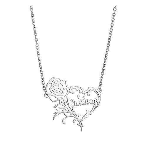 Collar con nombre personalizado colgante romántico de rosas / hadas / pájaros del amor collar con placa de identificación personalizada regalo de joyería grabada para mujeres y niñas