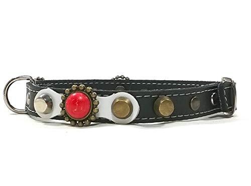 Superpipapo Hunde-Halsband, Handmade Schwarz Leder für Welpen, Chihuahuas und Kleine Hunde, Edel Schwarz Weiß Nieten und Koralle Rote Steine, 25 cm XXXS: Halsumfang 15-20 cm, Breit 13mm