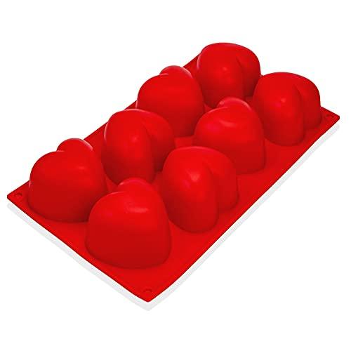 Silikonowa forma z serduszkami duża do muffinek, forma do pieczenia w kształcie serca, 8 serduszek, forma do pieczenia, forma do muffinek w kształcie serca, kostki lodu, 29,5 x 17 x 4 cm, ciasto, babeczek, czekolady, mydła, kolor: czerwony