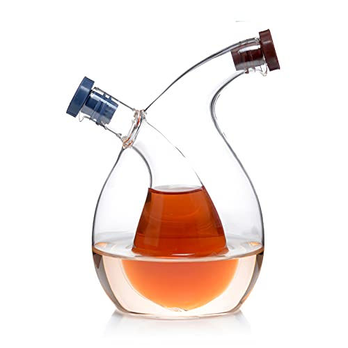 Wowlela Doble Cristal de aceitera y vinagrera de Transparente Diseño en Cascada 2 en 1 Elegante Botella Dispensadora de Mesa/Utensilios de Cocina