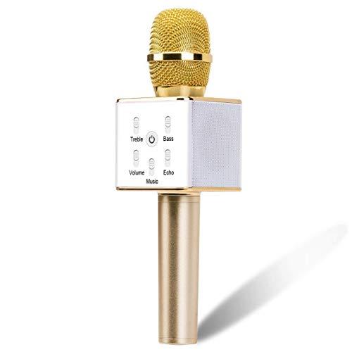 RROWER Multi-función de micrófono de Mano inalámbrico, micrófono de Karaoke, Altavoz Portátil Bluetooth, Eco Ligero Mic, para Kid Partido casero Chica Adulto Canto Regalo de cumpleaños