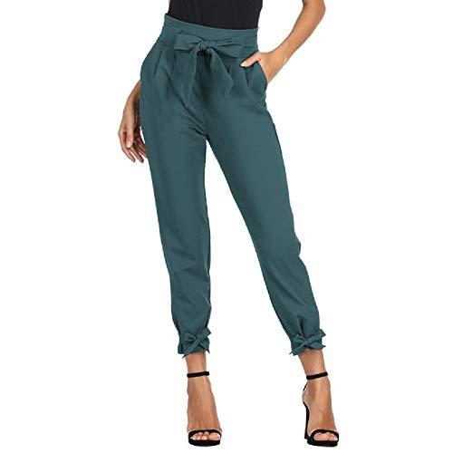 GRACE KARIN Damen Bleistifthose Hohe Taille 9/10 Elegant Carpi Hose Schleife Hose mit Taschen 2XL CL010903-18