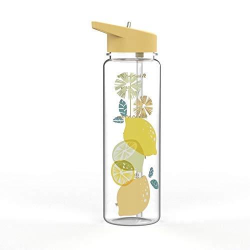 Wasserbecher, 720 ml, Cartoon-Einhorn, süße Kunststoff-Wasserflasche für Kinder und Mädchen, Sport-Trinkhalm, tragbare Kunststoff-Wasserflasche (Fassungsvermögen: 720 ml, Farbe: Zitrone)