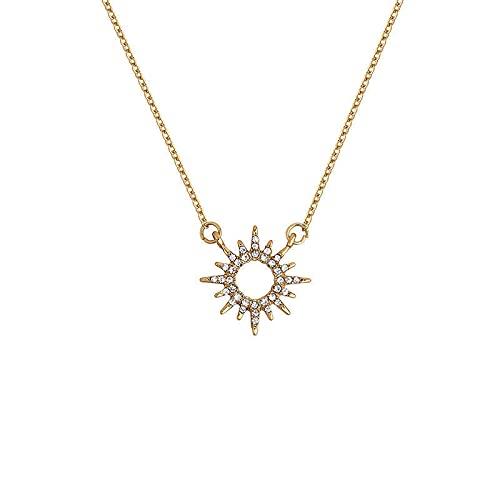 ShZyywrl Collar De Joyas Regalos para Aniversario Cumpleaños De La Madre Collar Collar De Sol Mujer Plata De Ley 925 Diamante Flash Te