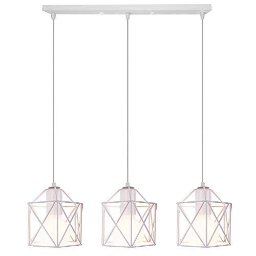 Lampadario a Sospensione Vintage 3 Luci Industriale E27 Plafoniera Retro in Metallo gabbia Lampada da soffitto per Cucina Salotto (Bianco)