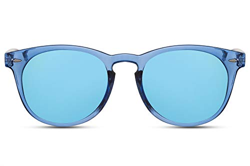 Cheapass Gafas de Sol Adorables Redondas Montura Azul Transparente con Lentes Azules Espejadas Diseño Moderno protección UV400 Hombres Mujer