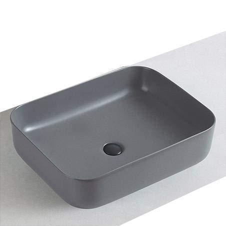 Aufsatzwaschbecken aus Keramik KW6127-50 x 39 x 13 cm - Farbe wählbar, Farbe:Grau Matt, Mit Blende Grau matt