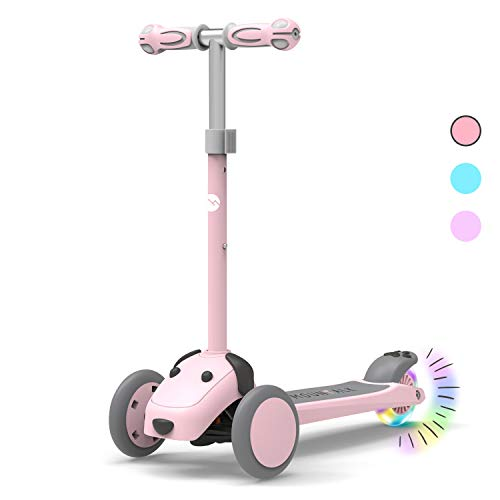 Mountalk 3 Wheel Scooters for Kids, Kick Scooter for Toddlers 2 - 8 Years Old, Boys and Girls Scooter with Light Up Wheels, Mini Scooter for Children, for Ride On Toys, Pink