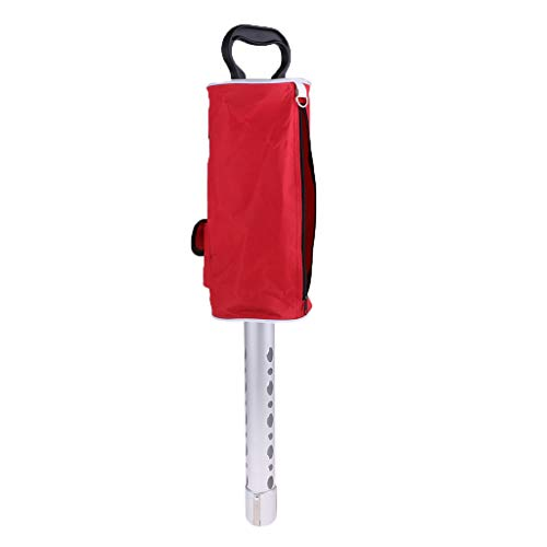 SM SunniMix Pro Golfball Pick Up Shag Bag Retriever Picker Aluminiumlegierung/Kunststoff Shagger Tube Aufbewahrungstasche Für Golfbälle Mit Pocket & Te - A Rot