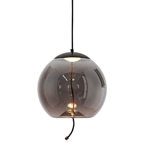 Initial heart Colgante LED posmoderna Gris Claro Globo de Cristal Pantalla Trenzada...