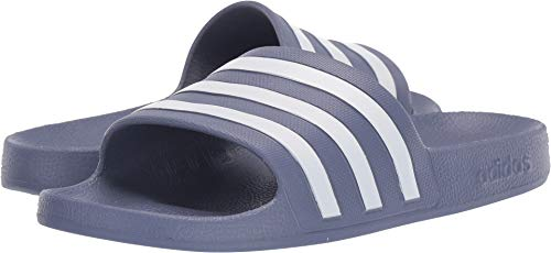 adidas Women's Adilette Aqua Sandal, raw Indigo/White/raw Indigo, 10 M US