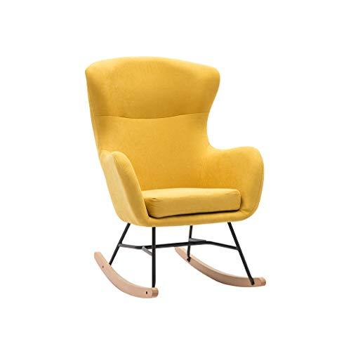 WPOV-A Home Einzel Schaukelstuhl, Massivholz Flanell Sofa Nickerchen Balkon Sessel 1119-YY (Color : Gelb)