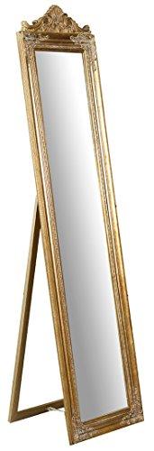 Specchio, Specchiera Rettangolare da Terra, con Cornice di Finitura Colore Oro Anticato, Shabby Chic, Bagno, Camera da Letto, L43xPR3,5xH178 cm. Stile Shabby Chic.