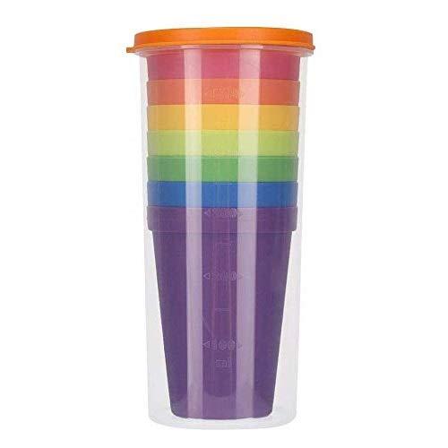 LSTK Juego de Vasos, Sin BPA, Reutilizables y encajables; 7 Vasos de plástico de Colores (200 ml) y 1 Botella de Agua (500 ml)