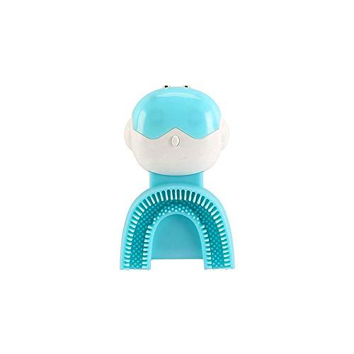 LXHkk Kinder Automatische Elektrische U-Shaped Tandenborstel 360 ° All-Round Reiniging Niet-Poreuze Antibacteriële Siliconen IPX7 Waterdicht 15000 keer/Minute Sound Wave Band