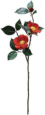 エルアーツ 造花 椿スプレ- 花径2~10cm 全長72cm レッド E7524-03