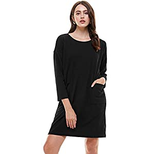 Women's Crew Neck Long Sleeve Pocket Casual Loose Fit Midi Dress Made in USA