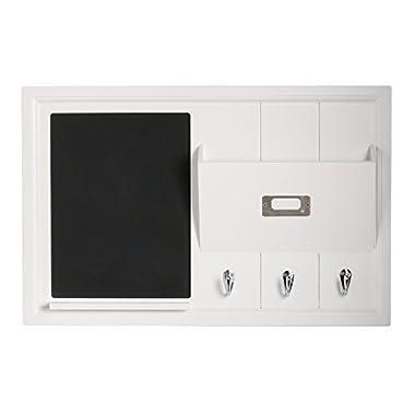 DesignOvation Dagny Decorative Home Organizer 21x14 with Chalkboard, Mail Holder, Key Hooks, White (209261)