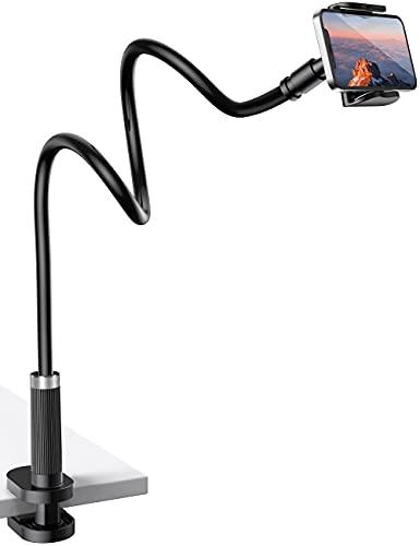 UVERTOOP Soporto Movil, Flexible Soporte para Móvil Mesa con Ajustable Brazo Largo Cuello de Cisne Universal Pinza Soporte Teléfono para iPhone 12 Pro MAX 11 XS XR 8 7, Samsung Huawei Pixel y más