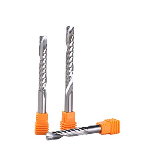 Fresa de carburo, 5 piezas de 6 mm de 1/4 pulgadas de alta calidad de carburo CNC Router Bits una sola flauta, fresa de madera Arcylic PVC de 22 mm-62 mm (Dimensiones: 5 piezas de 6 x 6 x 32)