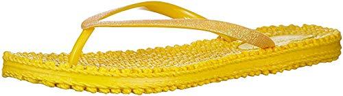 ILSE JACOBSEN HORNBÆK | Cheerful01 | Damen Flip Flops mit Glitter | Dänische Design | Sommer Strand Zehentrenner | Yellow | 38 EU