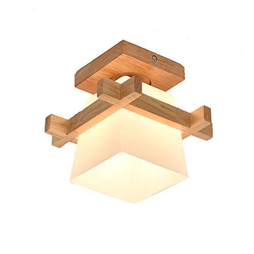 YALTOL Lámpara de Techo Moderna y Sencilla Cube Lámpara de Techo de Madera Lámpara de Vidrio Anillo de Dormitorio Ojo de protección Adecuado para Comedor, Dormitorio, Sala de Estar [Grado A Energía]