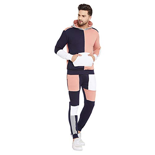 Fugazee Men's Rose and Navy Colour Blocked Tracksuit