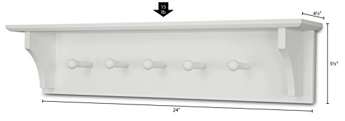 Ballucci Floating Coat and Hat Wall Shelf Rack, 5 Pegs Hook, 24