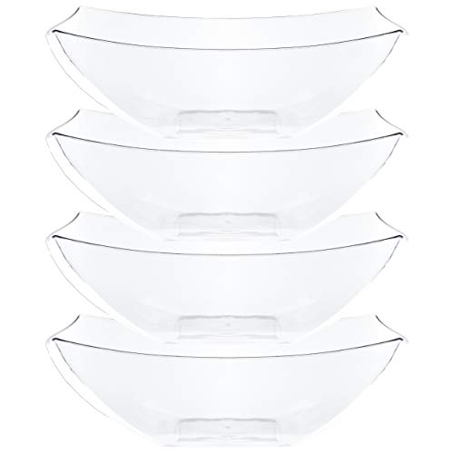 Plasticpro Disposable 128 ounce Square Serving Bowls, Party Snack or Salad Bowl, Extra Large Plastic Crystal Clear Pack of 4