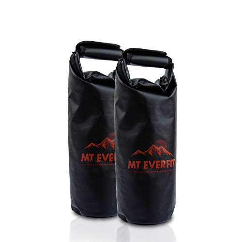MT EVERFIT Portable Workout Sandbag Soft Kettlebell - Heavy Duty Functional Waterproof Kettlebell Fitness Sand Bag with Thick Foam Padded Handle & Adjustable Weight (BLK - 20 lbs Set of 2)