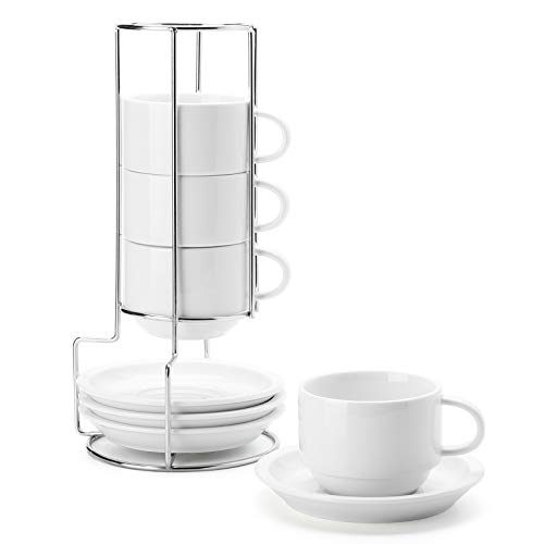 Sweese 406.401 Porcelain Stackable Cappuccino Cups with Saucers and Metal Stand - 8 Ounce for Specialty Coffee Drinks, Cappuccino, Latte, Americano and Tea - Set of 4, White
