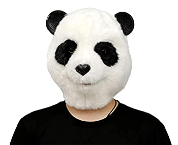 Creepyparty reepy Party Animal Mask Animal Head Mask Deluxe Novelty Christmas Costume Party Latex Animal Head Mask  plush panda