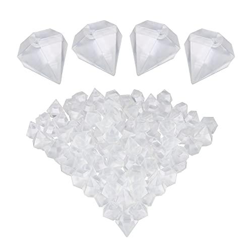 Relaxdays Eiswürfel wiederverwendbar, 100 Stück, Diamanten-Form, Dauereiswürfel für Getränke, Kunststoff, transparent, 10035627