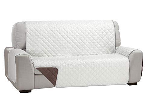 Martina Home Martina Dual Cover Cubre Sofá Acolchado Reversible, Beige / Marron, 3 Plazas