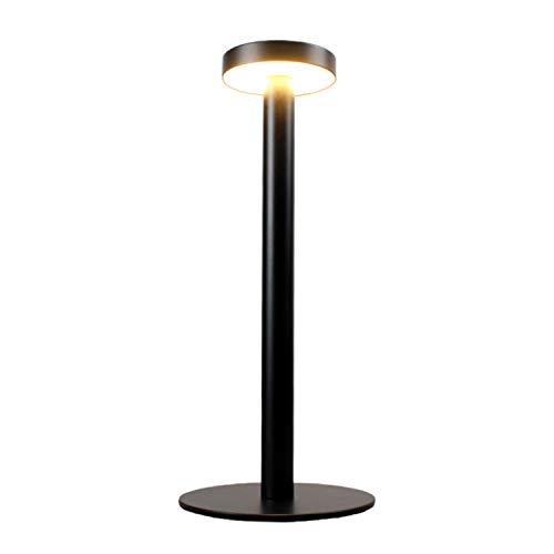 Lampada da Scrivania a LED, Lampada da tavolo Senza Fili con USB Ricaricabile per Ristorante Camera da Letto, Lampada da Comodino Wireless in Alluminio Conchiglia con 2-Mode Eye-Protect Lamps (Black)