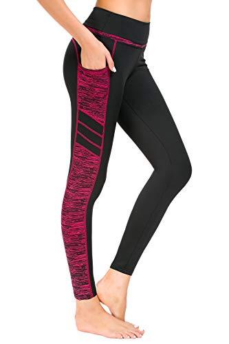 New Minc Damen Sporthose Sport leggings Tights mit Taschen Blickdichte Trainingshose Yogahose Sportleggins für Fitness Sport Freizeit, C1173-0308(rose Rot), XL