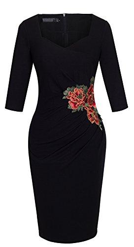 Homeyee B347 - vestido de cóctel formal para mujer, conmanga de 3/4, vintage, ajustado, bordado Negro negro 36 = Talla Small