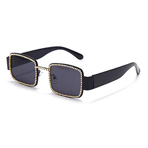 Powzz ornament Gafas de sol cuadradas con diamantes de imitación para hombre Gafas de sol Steampunk vintage de lujo con monturas de metal únicas Gafas de diamante Sombras Gafas UV400-1_Universal
