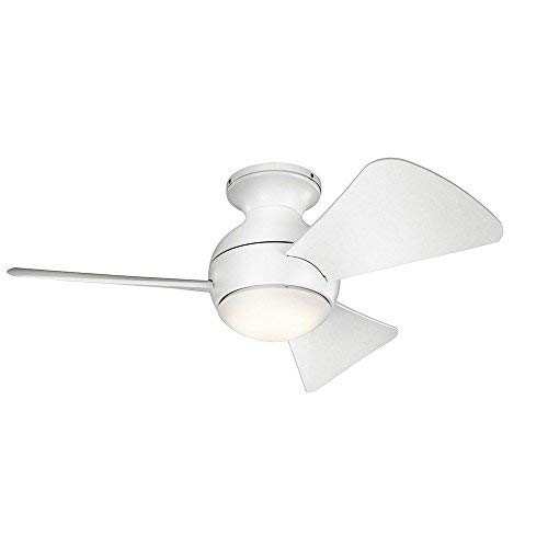 Kichler 330150MWH 34 Inch Sola Ceiling Fan LED, 3 Speed Wall Control Full Function, Matte White Finish with Matte White Blades