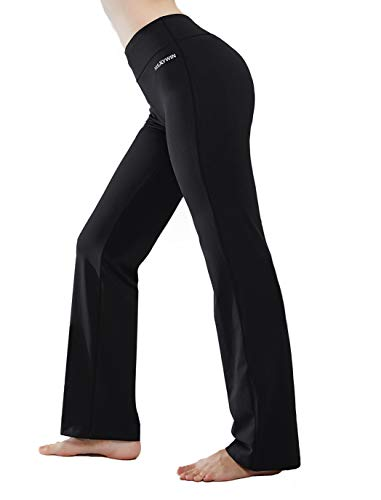 HISKYWIN Inner Pocket Yoga Pants 4 Way Stretch Tummy Control Workout Running Pants, Long Bootleg Flare Pants Black-L