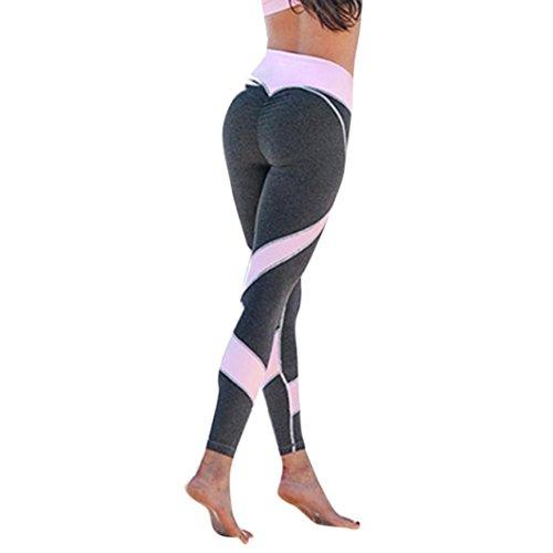 SHOBDW Damen Yoga Leggings Frauen-dünne Gamaschen-hohe Taillen-elastische Yoga-Eignungs-Sport-Herz-förmige Hosen (L, Grau)