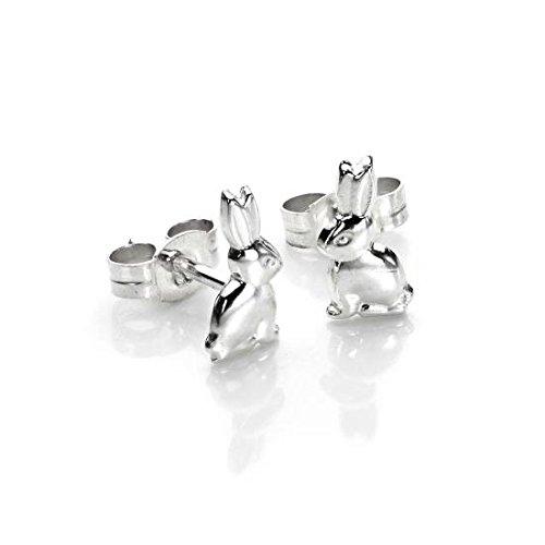 925 Sterling Silber Sitzendes Kaninchen Ohrringe Ohrstecker