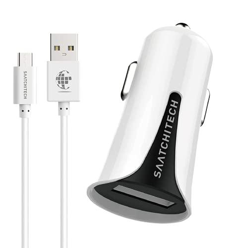 SAATCHITECH ST.90201 - Cargador de coche para encendedor de cigarrillos de coche con puerto USB y cable micro USB, adaptador de encendedor de cigarrillos, cargador para coche, 12 W/2,4 A