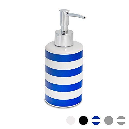 Harbour Housewares Badezimmer Handseife Pumpspender. Blau/Weiß-Streifen 280ml