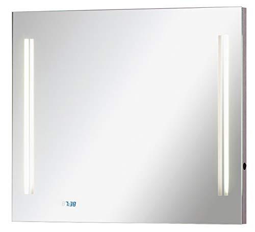 FACKELMANN Spiegel mit LED Uhr Como/Wandspiegel mit Beleuchtung/Maße (B x H x T): ca. 80 x 68 x 5 cm/hochwertiger Badspiegel/moderner Badezimmerspiegel mit Digitaluhr/Breite 80 cm