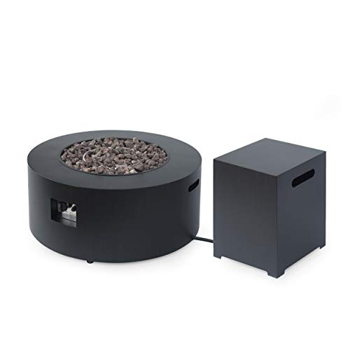 Great Deal Furniture Catherine Outdoor Round Fire Pit with Tank Holder, Dark Gray