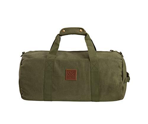 Canvas Barrel Bag - Sporttasche, 24 Liter, Duffel Bag Umhängetasche/Seesack aus 100% Baumwolle mit Echt-Leder Veredelung (Manufaktur13) (Olive)