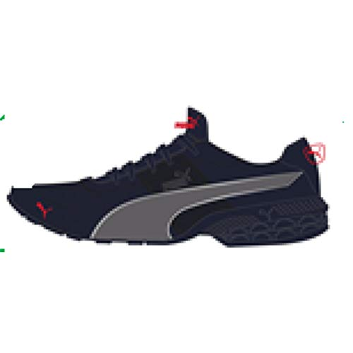 PUMA Men's 18907424 Running Shoe, Peacoat-Castlerock-High Risk Red, 8