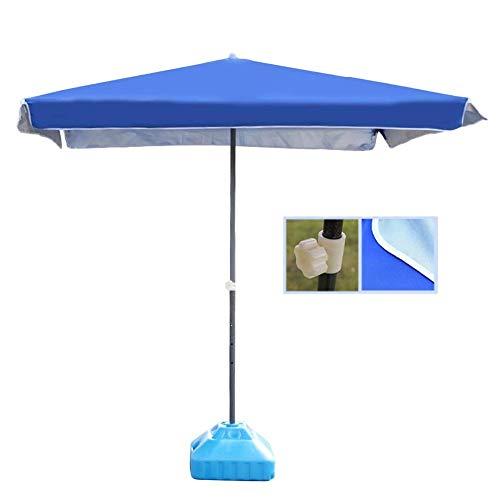 GBTB Sombrilla de Mercado de Patio al Aire Libre Cuadrada de Lujo de 6.5 'para terraza de balcón o terraza de jardín, 2M y Veces; 2M (Color: Azul, tamaño: 6.5 pies / 200 cm)